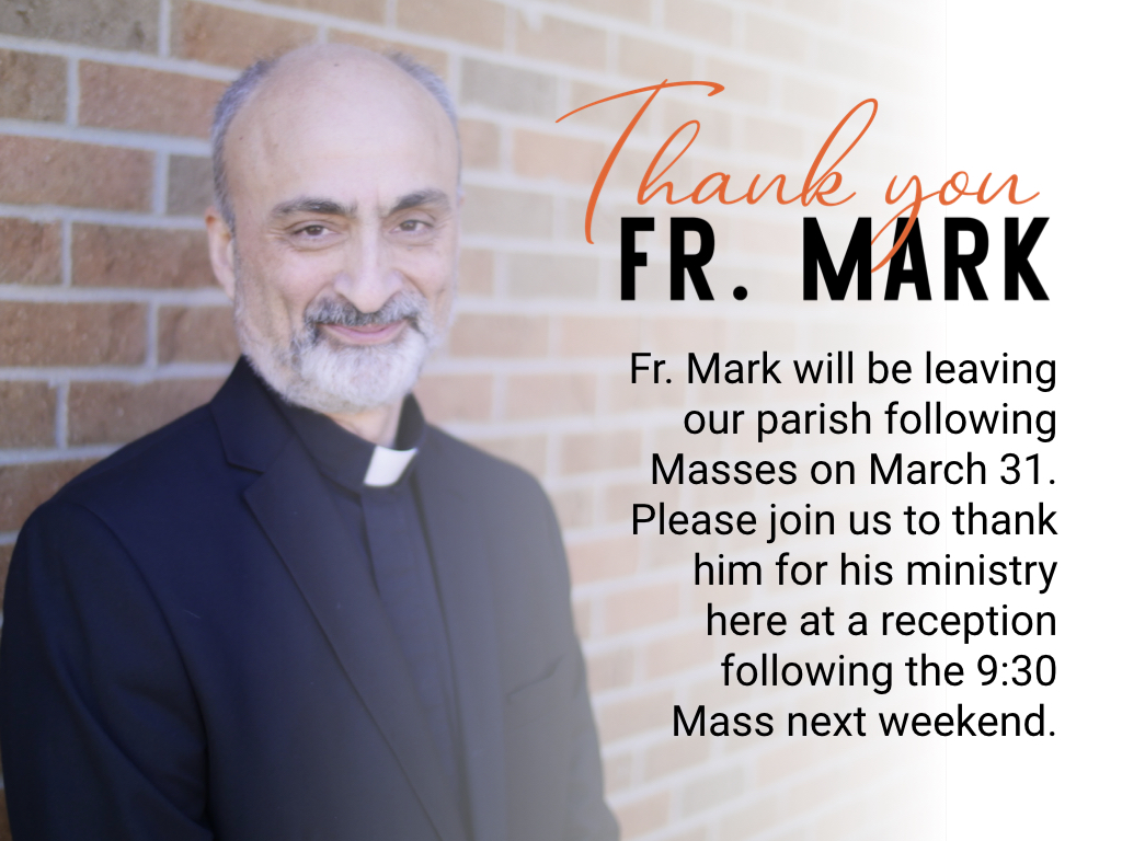 Thank you, Fr. Mark
